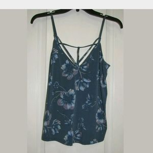 XS Free People Blue Cut Out Floral Tank Top